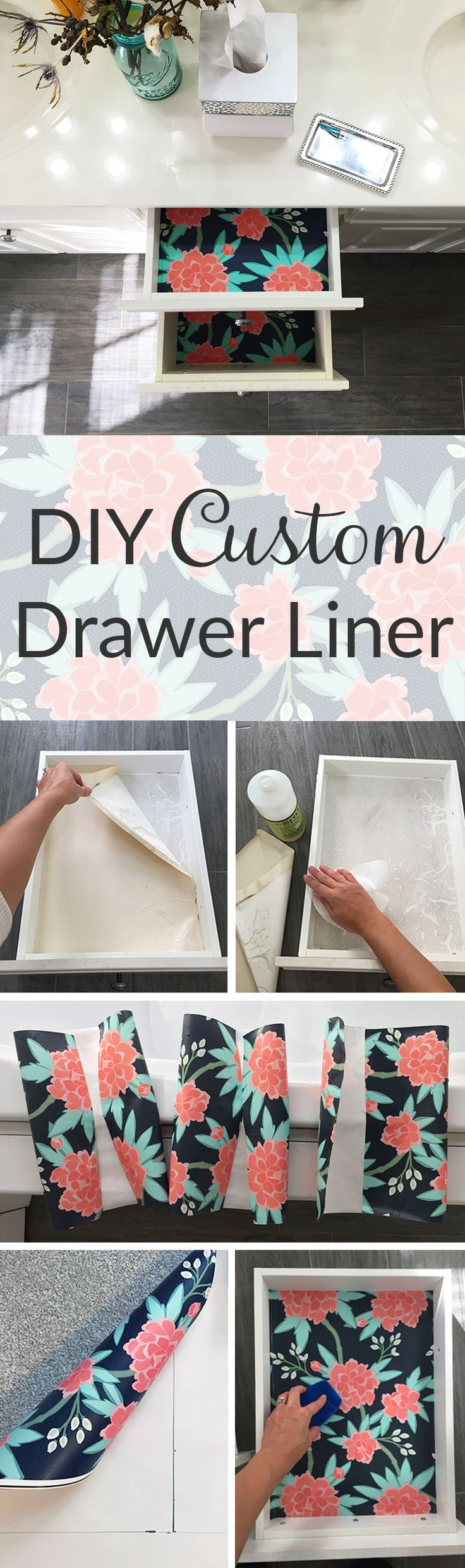 This easy DIY tutorial shows the quick steps from boring drawer to beautiful bold interior!    These custom drawer liners can brighten up any space and add some color to a drab room.  Click to see the easy DIY drawer liner tutorial.  Design by willowlanetextiles spoonflower.com/designs/3204448