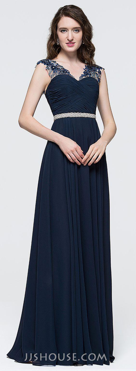 A-Line/Princess V-neck Floor-Length Chiffon Prom Dress With Ruffle Beading Sequins.  #JJSHOUSE