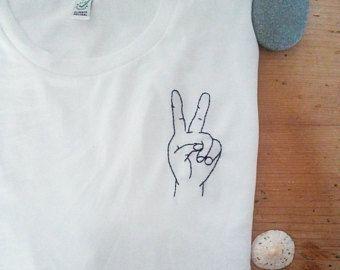 "Self embroidered T shirt ""Keep Cool"" 100% organic cotton"