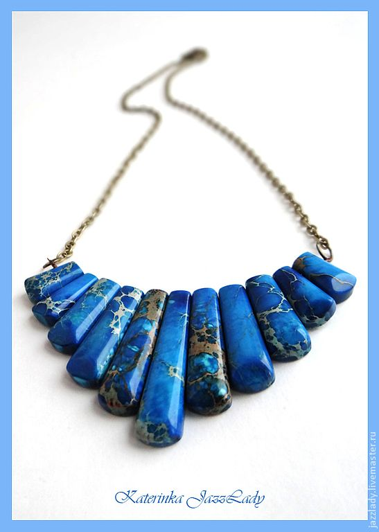 """Колье """"Средиземное море"""" - колье,колье из камней,голубой,морской,море 650 руб"""