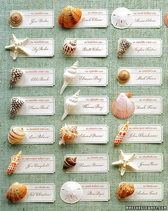 Wedding Seating Arrangement: Perfect for a themed wedding.  Replace shells with any small tokens.