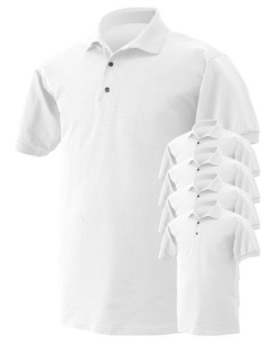 cba98d70f Gildan Mens ButtonDown Polo Shirt White Small Pack of 5 -- Be sure to check  out this awesome product. (This is an affiliate link)