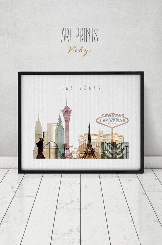 Las+Vegas+Kunstdruck+Aquarell+Poster+Wandkunst+von+ArtPrintsVicky