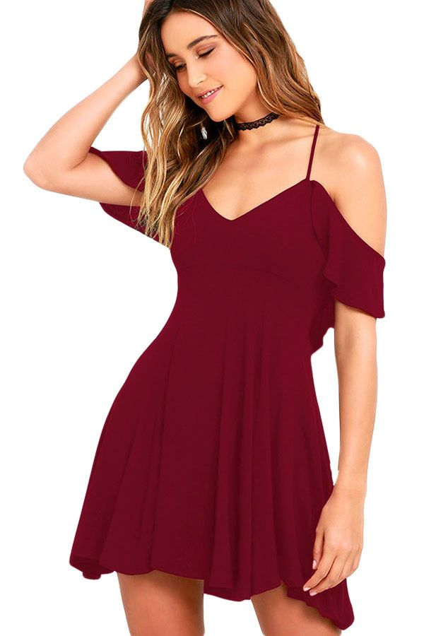 Sexy Wine Backless Skater Dress LAVELIQ Material: 95%Polyester+5%Spandex Size: (Us 4-6)S,(Us 8-10)M,(Us 12-14)L,(Us 14-16)Xl Style: Brief, Cute, Club, Sexy Occasion: Night Club, Summer Pattern: Solid