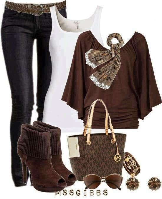 Stylish Jeans, white blouse, brown blouse, high heel warm shoes and handbag combination for fall