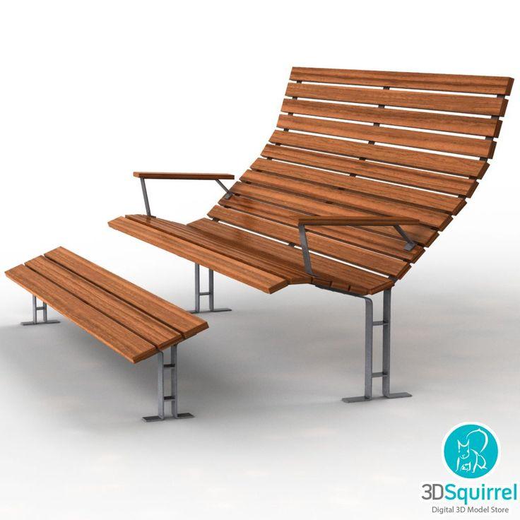 bench seat 3d model obj fbx lxo lwo max dae dxf 3ds 3dsquirrel - Garden Furniture 3d Model