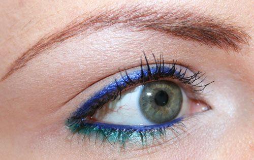 trucco blu e verde