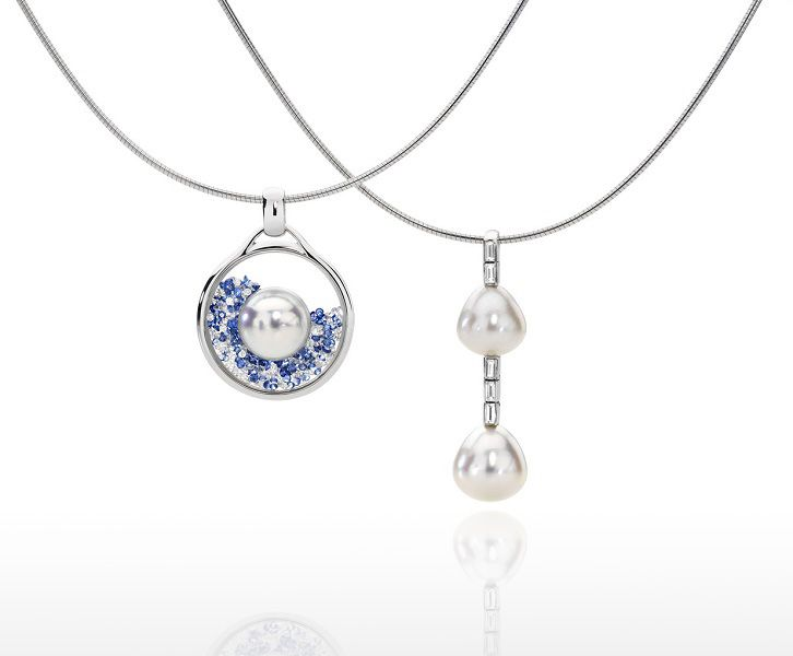 Left: Vetro pendant with diamonds and sapphires and an Australian South Sea pearl . Right: Pearl & diamond pendant