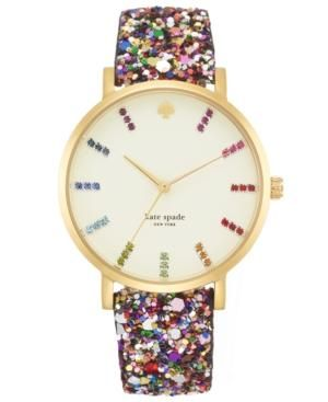 cffb07916279 kate spade new york Watch, Women's Metro Grand Multi-Color Glitter Leather  Strap - Watches - Jewelry & Watches - Macy's