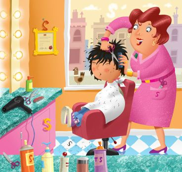 A funny poem from @thefuneverse Bad Hair Day by Alex Craggs.  Image by Mike Brownlow. Funny poetry for kids about bad haircuts.