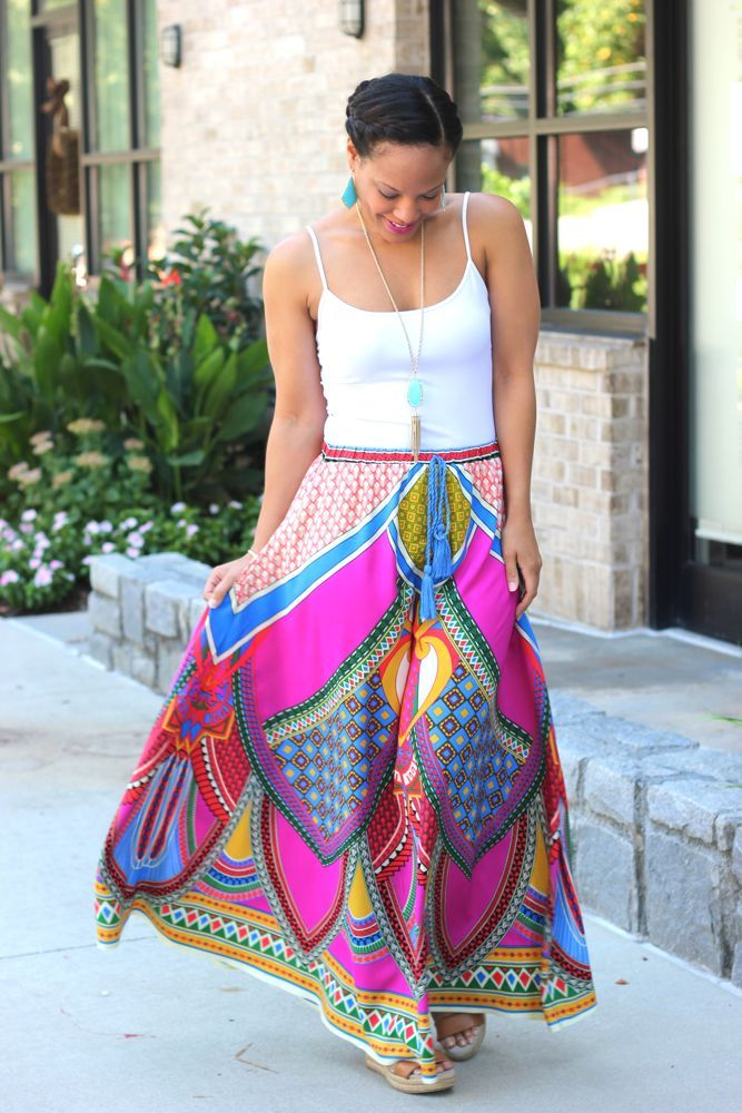 Geo Aztec Maxi Skirts from The Mint Julep Boutique. #Fashion #Style #MaxiSkirts #Boho