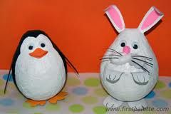 Paper Mache Penguin and Bunny | Crafts for Kids (Start with a balloon and then add the features.)