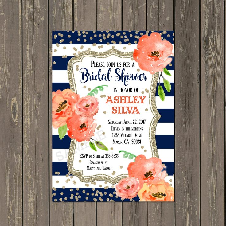 Navy and Coral Bridal Shower Invitation Floral Navy & White