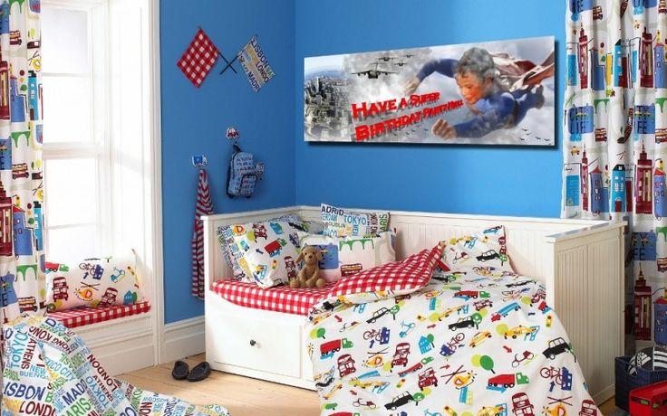 Super Hero banner in kids bedroom