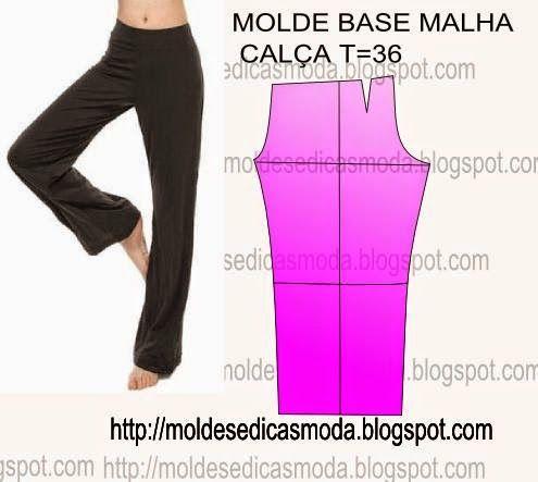MOLDE BASE CALÇA/MALHA TAMANHO 36 - Moldes Moda por Medida