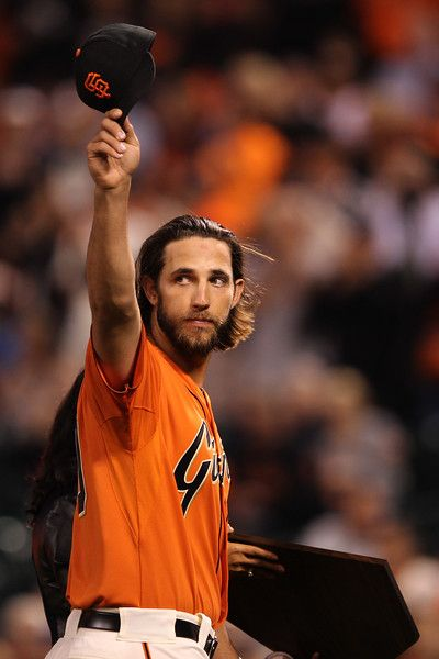 San Francisco Giants' Madison Bumgarner (40) acknowledges fans as he is presented the 2014 Willie Mac Award before their MLB game against the San Diego Padres at AT&T Park in San Francisco, Calif., on Friday, Sept. 26, 2014. (Ray Chavez/Bay Area News Group)