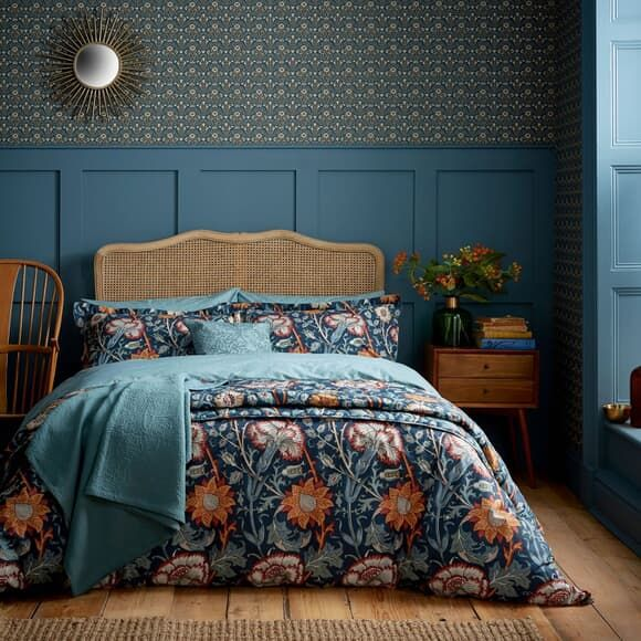 William Morris Pink And Rose Teal Large In 2020 Rose Bedding Teal Bedding Apartment Bedding