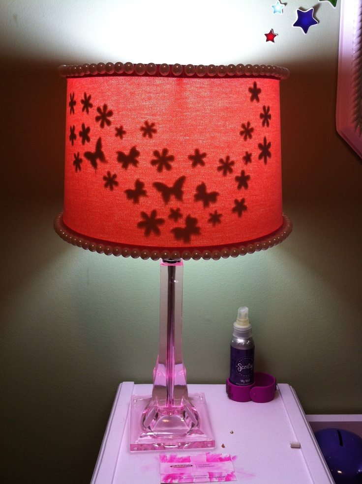 Embellished Olivia's shade with pearls and foamy stickers on inside. Only see them when lamp is on.
