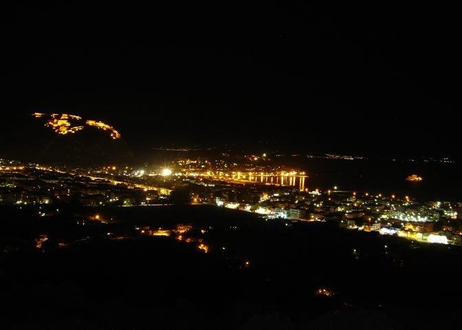 Palamidi-Nafplio-Bourtzi viewed from the top of Profitis Ilias hill