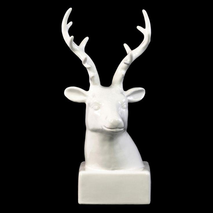Urban Trends Ceramic White Deer Head Sculpture on Base - 13822
