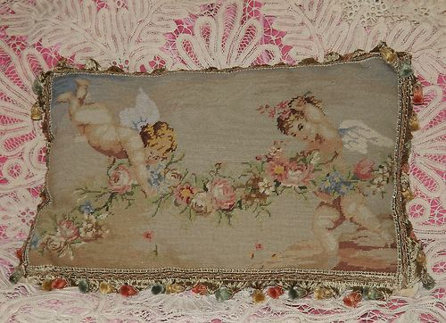 Cherubs with Shabby Roses Tapestry Pillow