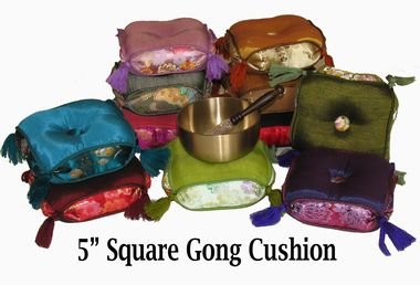 "Gong/Singing Bowl Cushions - Square Silk Brocades: Gong/Singing Bowl Cushion - 5"" Square Silk Brocade"
