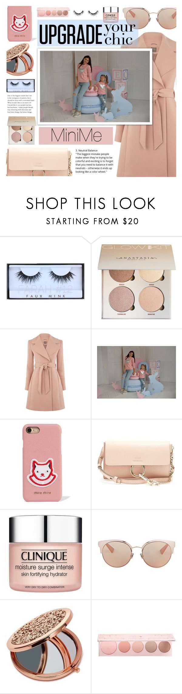 """MiniMe Fashion"" by dora04 ❤ liked on Polyvore featuring Miu Miu, Chloé, Clinique, Christian Dior, Miss Selfridge, 100% Pure and Velour Lashes"