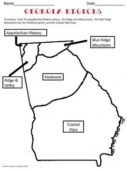 Georgia Regions coloring page