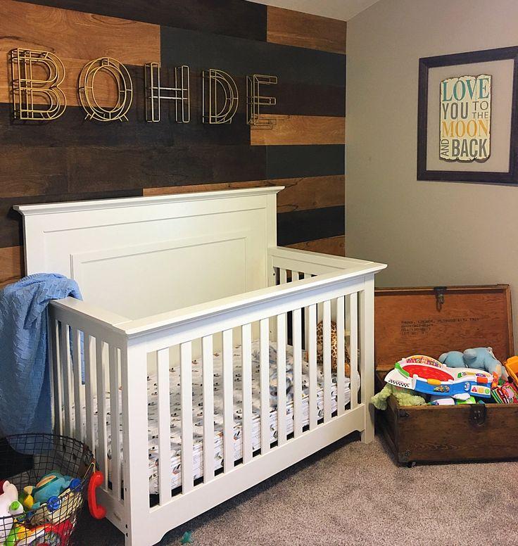 Wood wall nursery baby boy