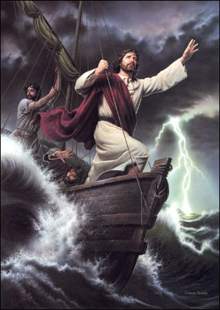 Jesus Calms a Storm  Matthew 8:26  And he saith unto them, Why are ye fearful, O ye of little faith? Then he arose, and rebuked the winds and the sea; and there was a great calm.