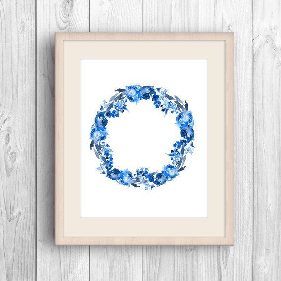 Blue wreath print Minimalist flower Watercolor by MyGalleryWall