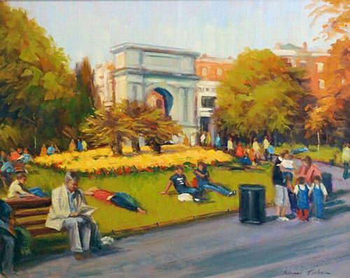 Norman Teeling 'Stephen's Green' #art #painting #StephensGreen #sunny #NormanTeeling #DukeStreetGallery