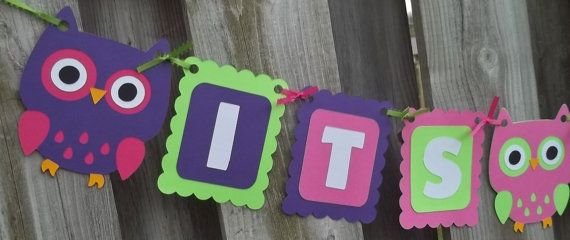 Its A Girl Owl Theme Banner, Owls, Purple Lime Green, Hot Pink, Baby Shower Decorations, Owl Party Supplies, Baby Shower Banner