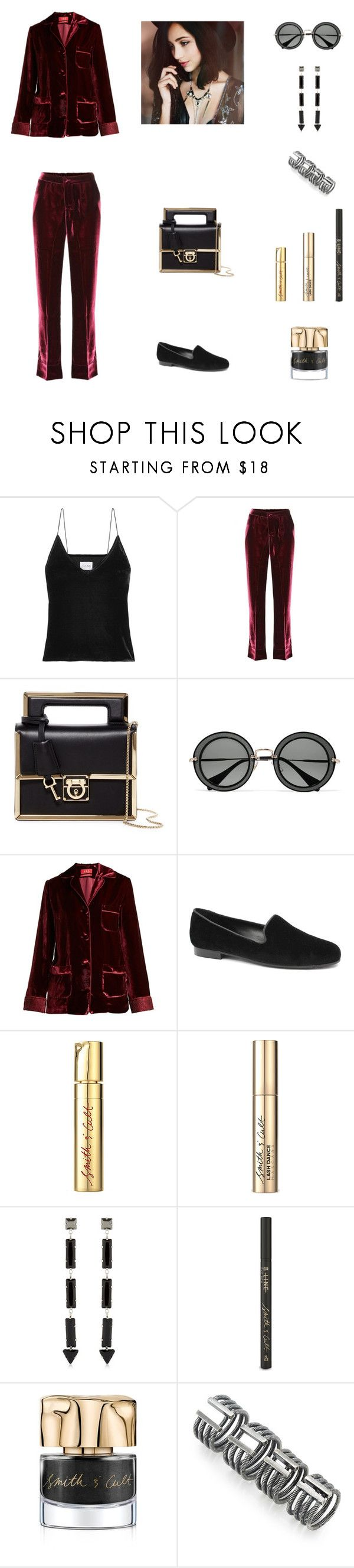 """Work Outfit #152"" by cherryflame14 ❤ liked on Polyvore featuring Cami NYC, F.R.S For Restless Sleepers, Salvatore Ferragamo, Miu Miu, Jon Josef, Smith & Cult, REMINISCENCE and Maison Margiela"