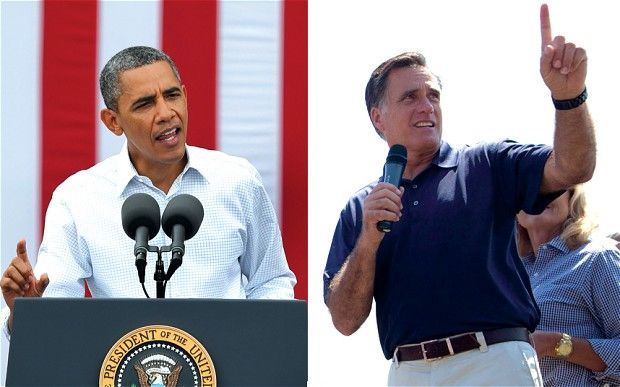 US Election 2012 Guide: the debates via www.telegraph.co.uk [President Barack Obama, left,  in Dubuque, Iowa and U.S. Republican presidential candidate Mitt Romney in Wolfeboro]