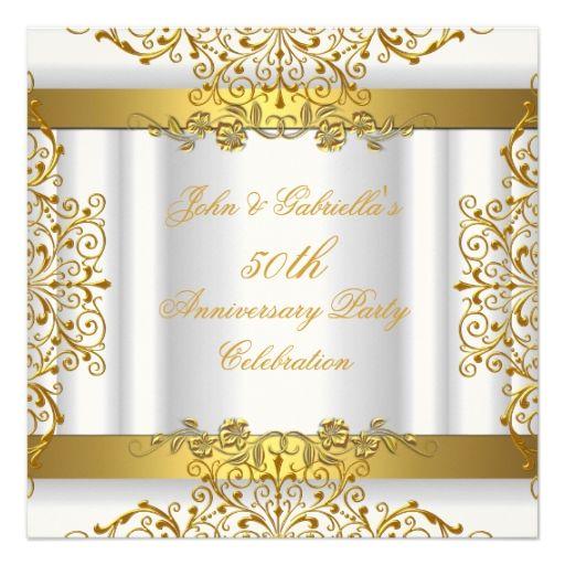 White Gold Elegant Gold 50th Wedding Anniversary Custom Announcements
