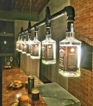 How AWESOME are these Jack Daniels lamps in this Man Cave?! Contemporary Classics & More is your go-to for all of your #ManCave needs  #JackDaniels #Creative #WomanCave #Furniture #HomeDecor