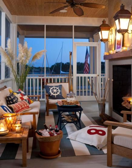 Twilight time     As dusk falls, there is no reason to go inside when you've provided subtle lighting and warmth. No built-in fireplace? Ethanol-burning fireplaces are safe for patio use and come in a variety of sizes from wall-mount to table-top.