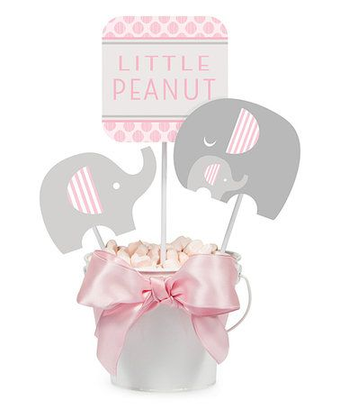 $5.99 marked down from $7.70! Pink Little Peanut Centerpiece & Picks Décor - Set of Six #baby #babyshower #firstbirthday #birthday #centerpieces #elephant #zulilyfinds