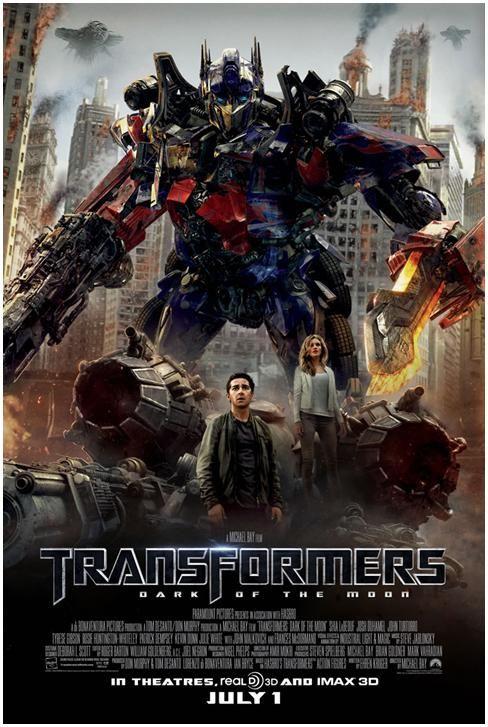 Transformers 3: el lado oscuro de la luna (2011) es una película estadounidense de acción y ciencia ficción dirigida por Michael Bay y producida por Steven Spielberg. Es la secuela de Transformers (2007) y Transformers: la venganza de los caídos (2009). Protagonizada por Shia LaBeouf, Josh Duhamel, Tyrese Gibson, Peter Cullen y John Turturro se unen al reparto Rosie Huntington-Whiteley, la cual sustituye a Megan Fox.