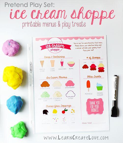 Pretend Play Set: Ice Cream Shoppe   FREE PRINTABLES   LearnCreateLove.com