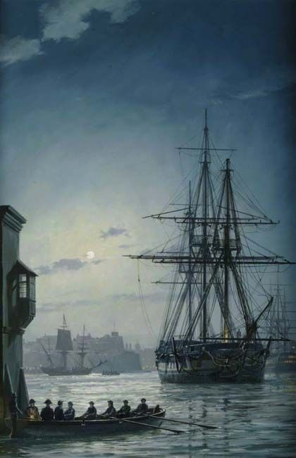 """On a quiet evening, """"HMS Surprise"""" lies at anchor in Grand Harbour, Malta, a Marine standing guard on deck. A cutter pulls away from the dock the officers in the stern softly lit by a lantern. In the background on the right can be seen a British 74-gun warship and a Genoese barque is being towed across the harbour. Geoff Hunt"""
