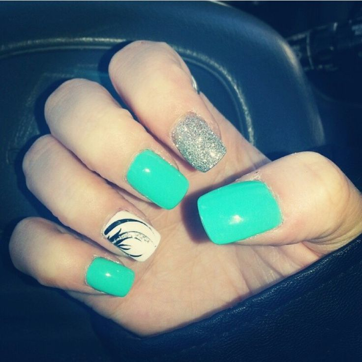 Teal, silver & white nails