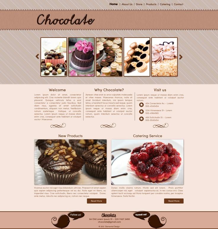 Chocolate web template, soft cream color.