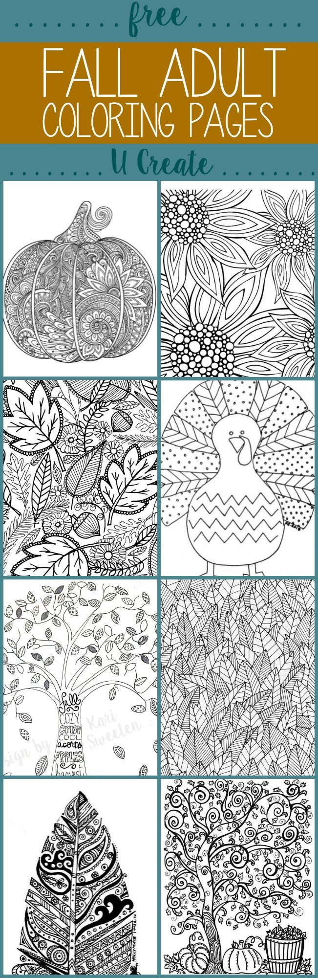 Printable adult thanksgiving coloring sheet - Free Fall Adult Coloring Pages