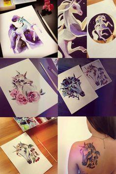 unicorn tattoos Sasha Unisex / Esta artista rusa hace unos tatuajes coloridos y originales en base a acuarelas