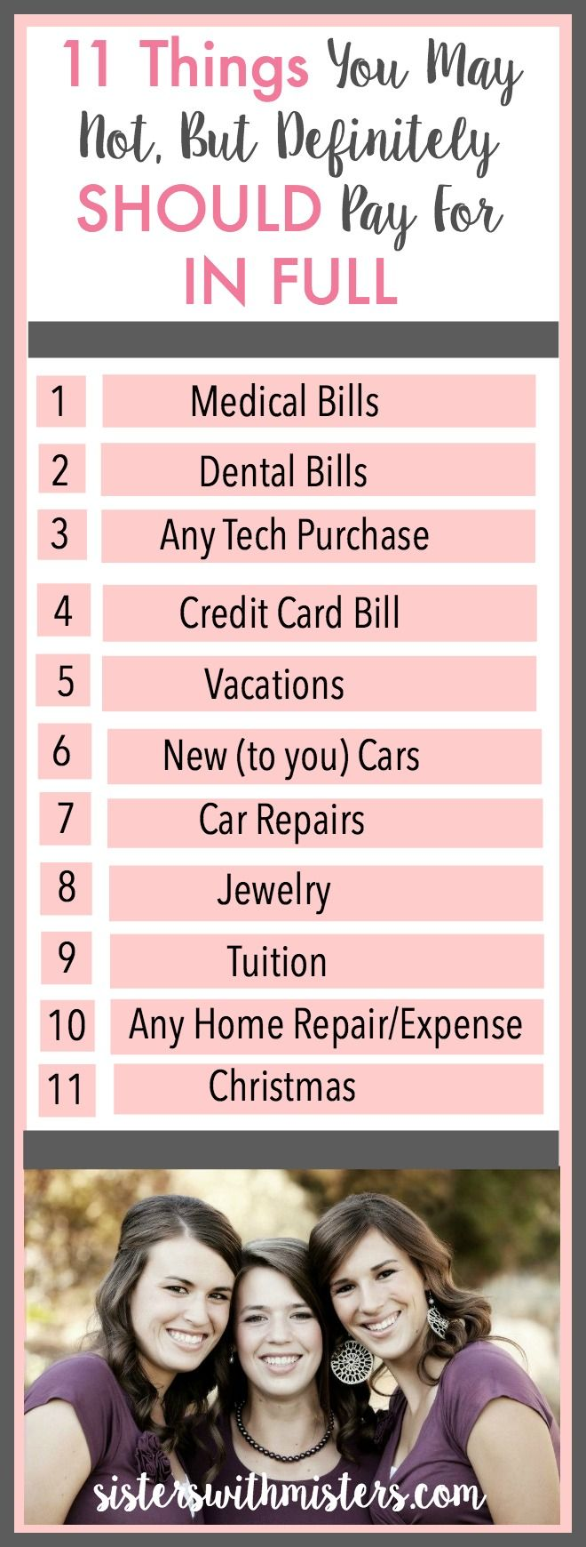How to make budgeting easier when bills are so stressful??  Here are eleven things you SHOULD ALWAYS pay for in full to reduce your month to month financial stress AND save money.