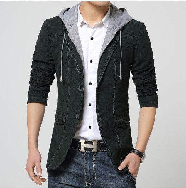 New spring mens hooded blazer suit jacket casual men slim fit blazers cotton jacket black and gold blazer masculino