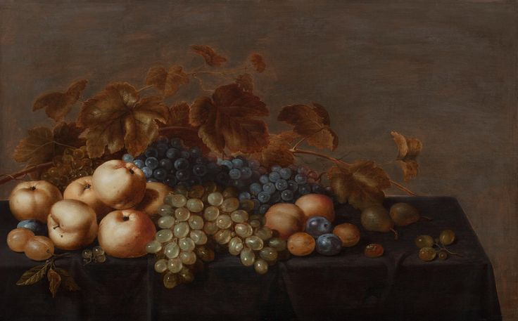 FLORIS GERRITSZ. VAN SCHOOTEN (Haarlem active c. 1605 - 1656), Still Life of Fruit on a Table Draped with a Dark Cloth: Plums, Apples, Bunches of Black and White Grapes and Pears
