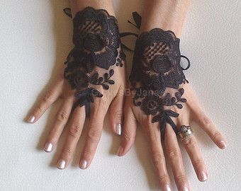 Lace glove free ship black prom party bridesmaid by ByVIVIENN